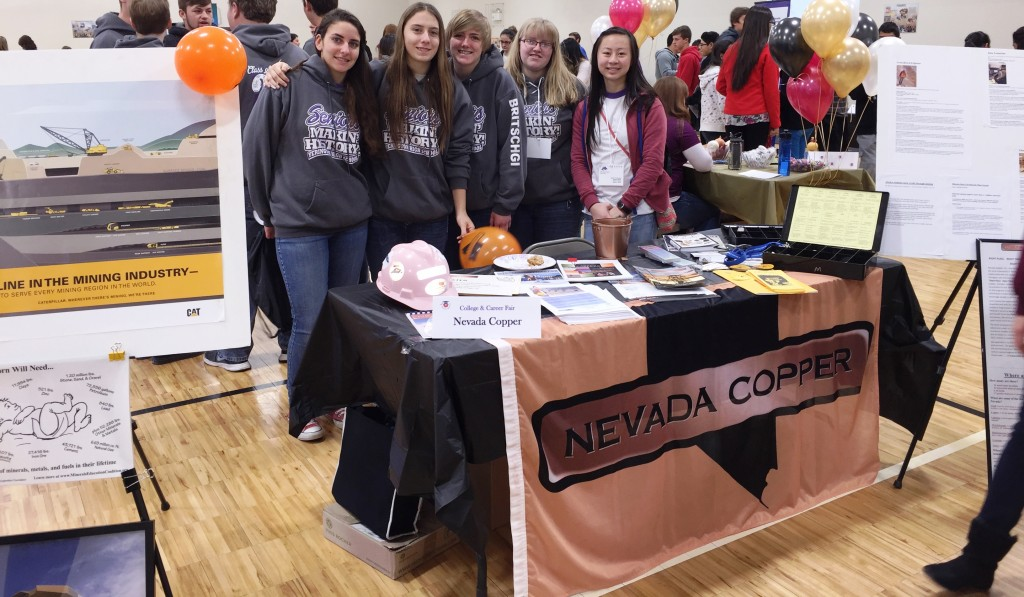 YHS Mining Club visits the   Nevada Copper booth.